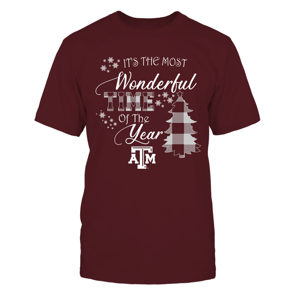 Texas A&M Aggies - Christmas - It's The Most Wonderful Time In The Year - Checkered Pattern Front picture