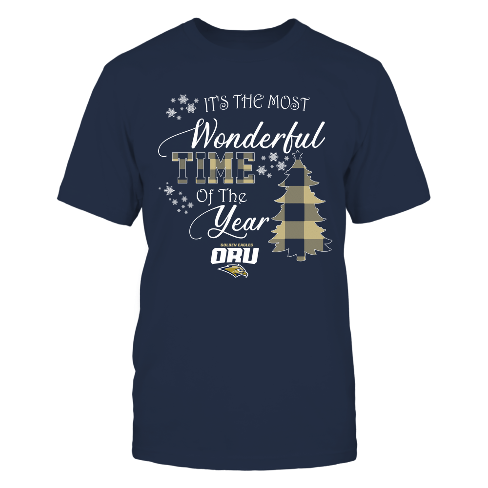 Oral Roberts Golden Eagles - Christmas - It's The Most Wonderful Time In The Year - Checkered Pattern Front picture