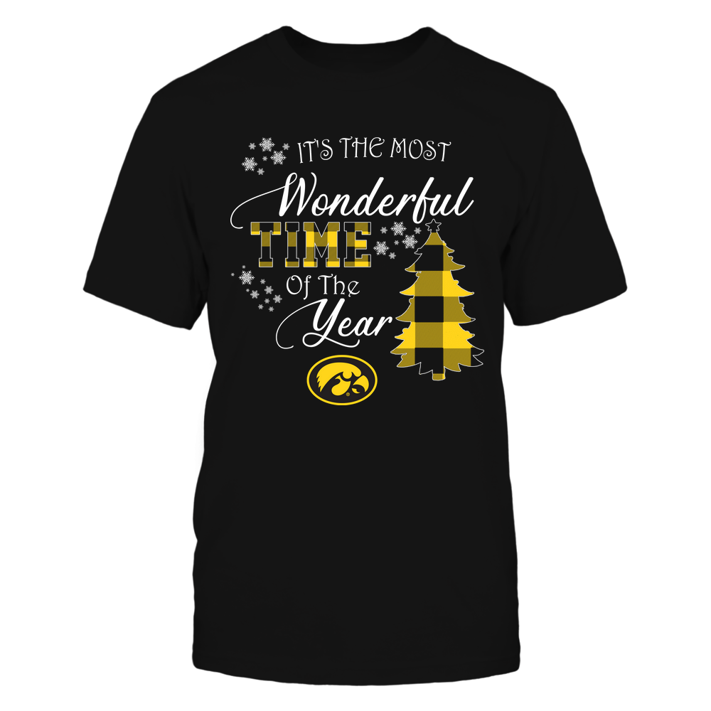 Iowa Hawkeyes - Christmas - It's The Most Wonderful Time In The Year - Checkered Pattern Front picture