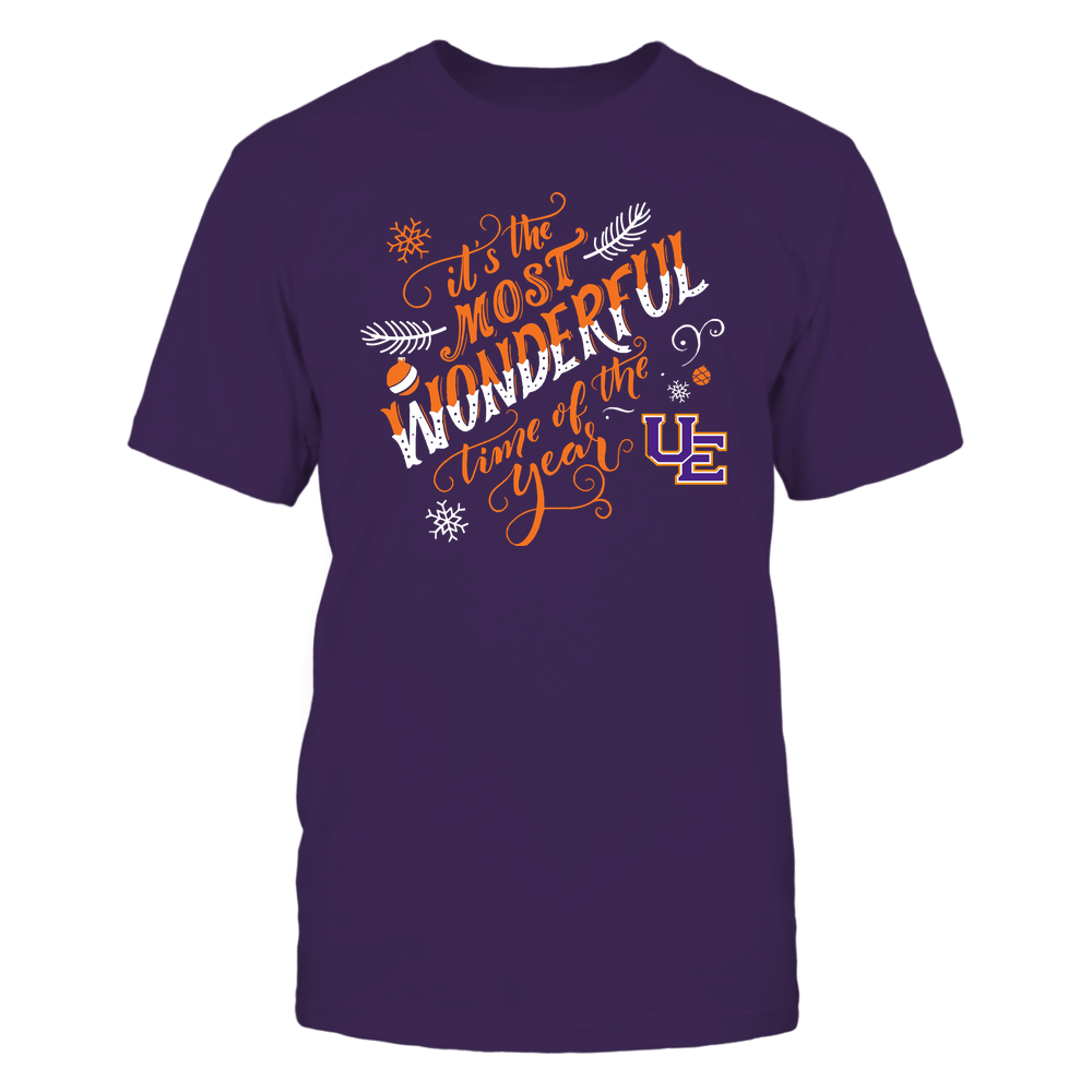 Evansville Purple Aces - Christmas - It's The Most Wonderful Time Of The Year - Christmas Ornaments Front picture