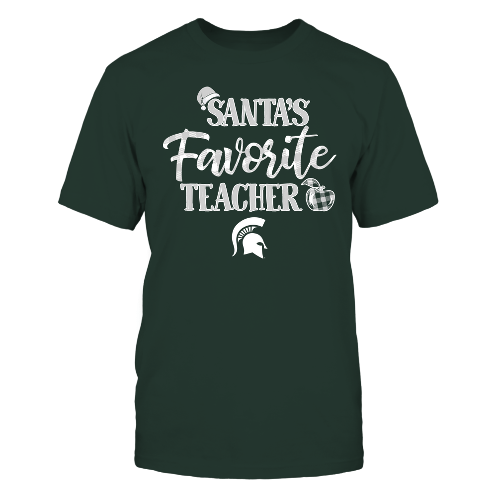 Michigan State Spartans - Christmas - Santa Favorite Teacher Hat - Checkered - Team Front picture