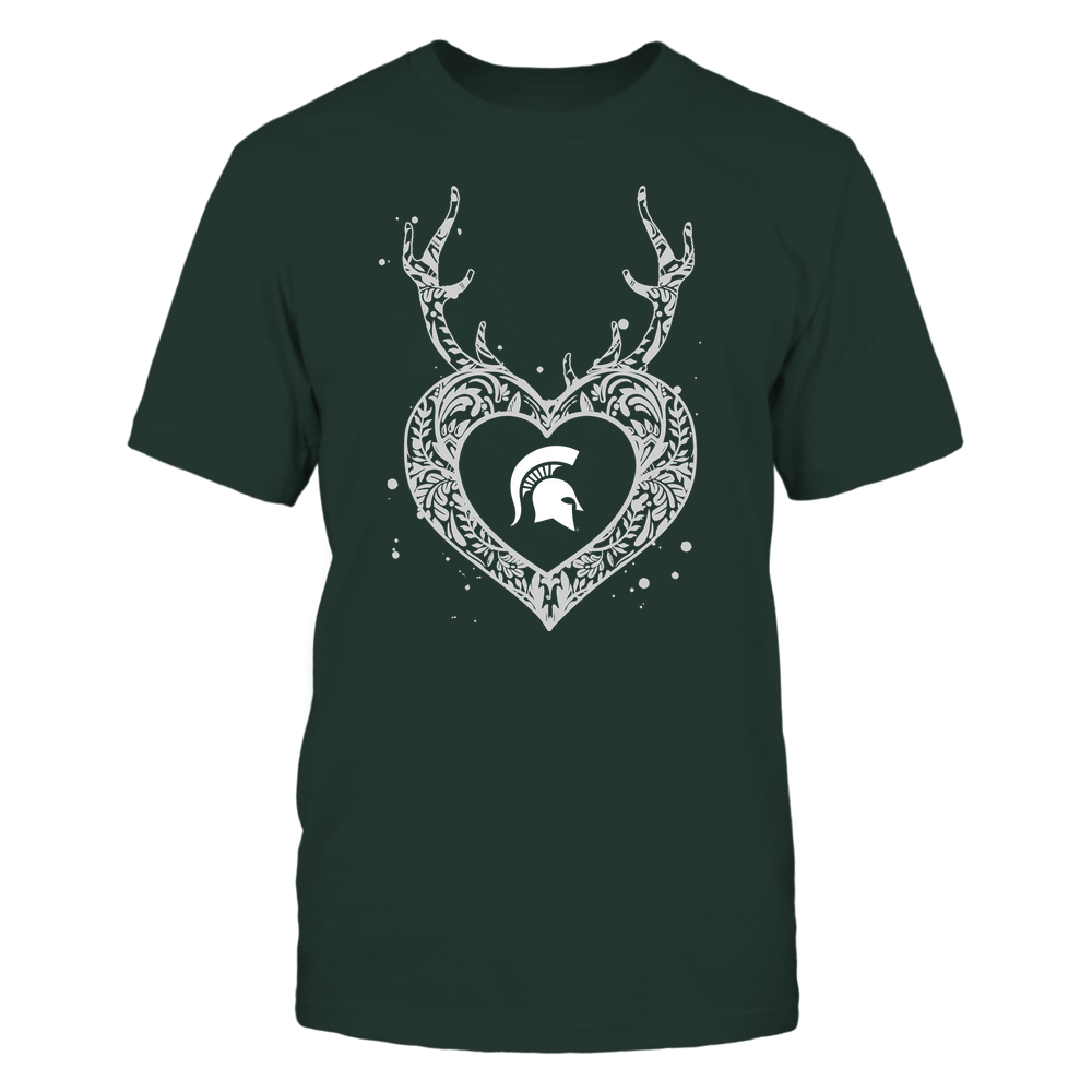 Michigan State Spartans - Deer Pattern Heart - Team Front picture