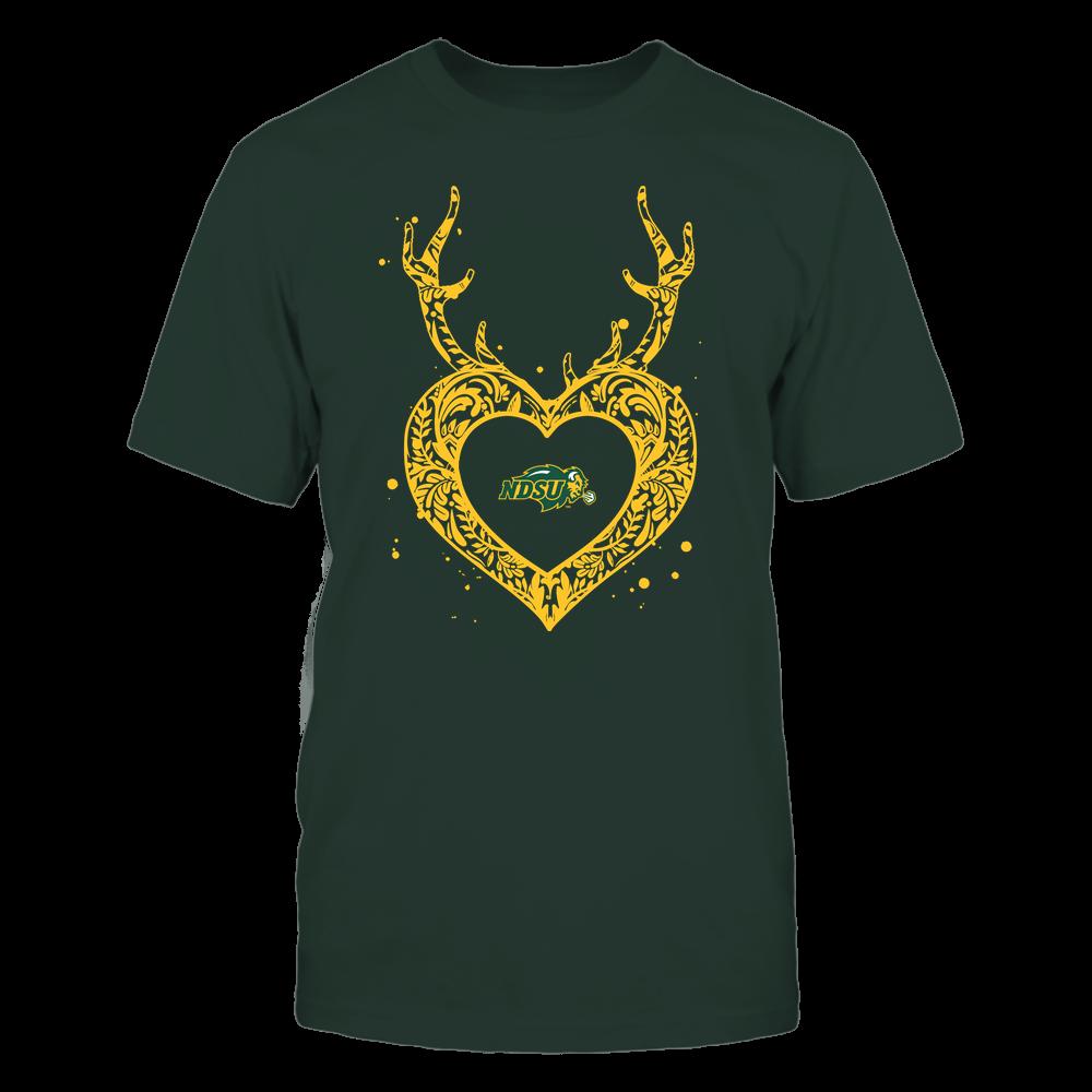 North Dakota State Bison - Deer Pattern Heart - Team Front picture