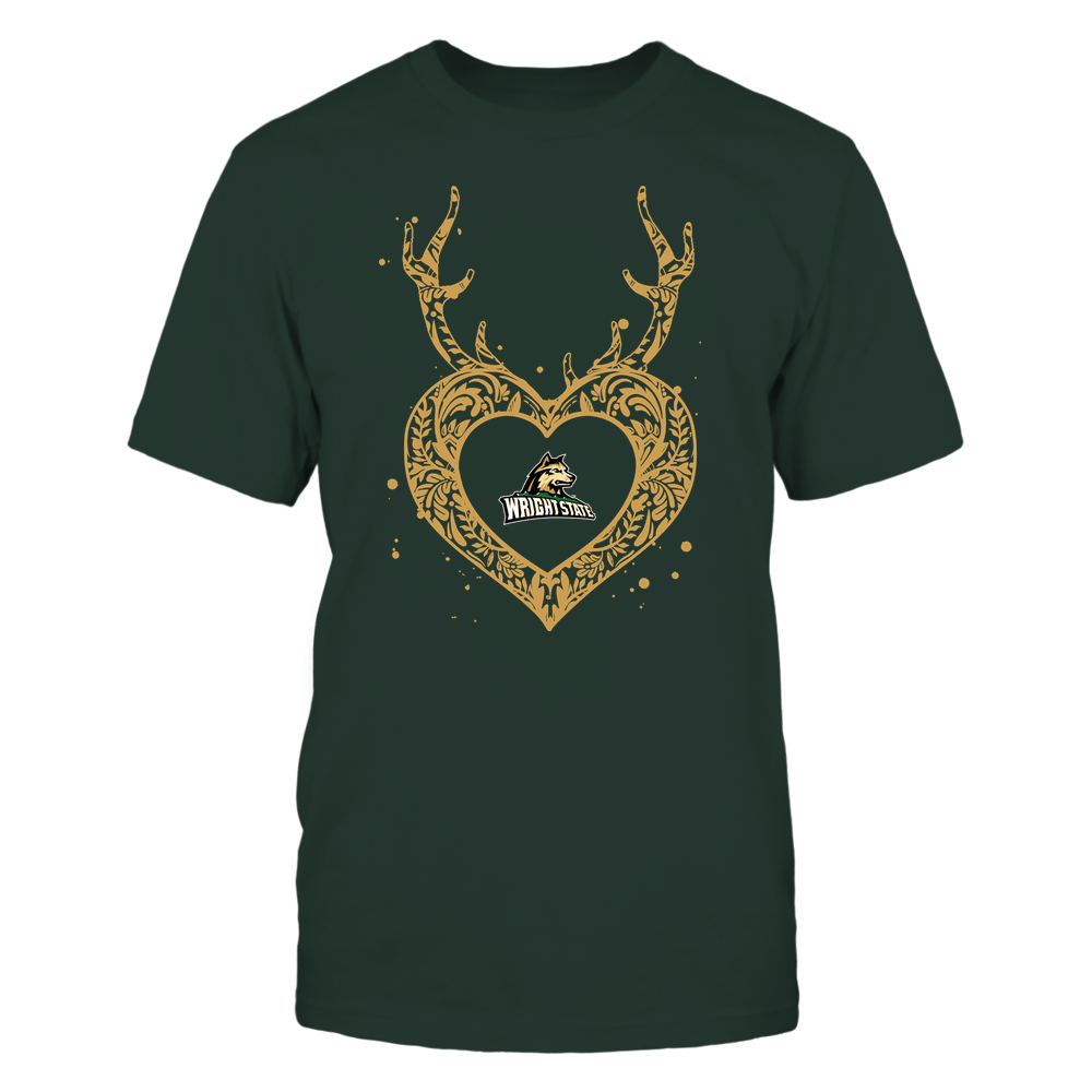 Wright State Raiders - Deer Pattern Heart - Team Front picture