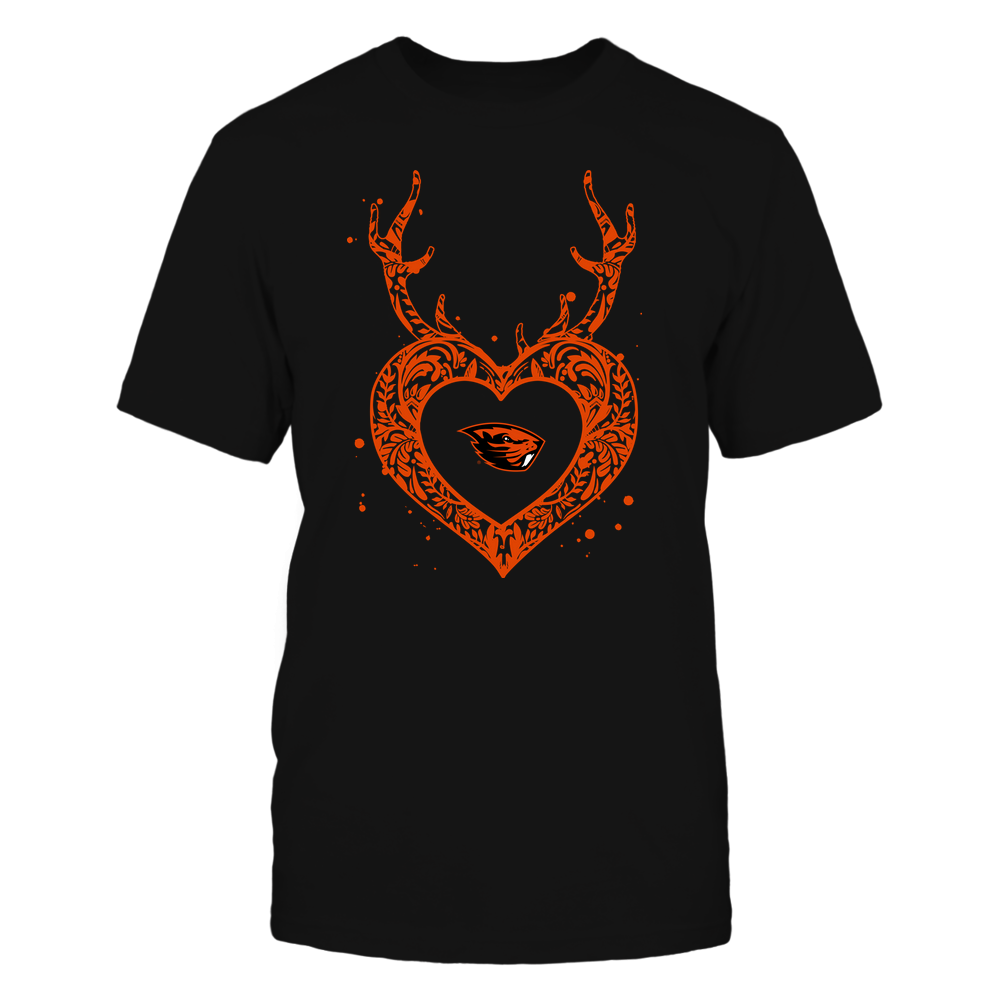 Oregon State Beavers - Deer Pattern Heart - Team Front picture