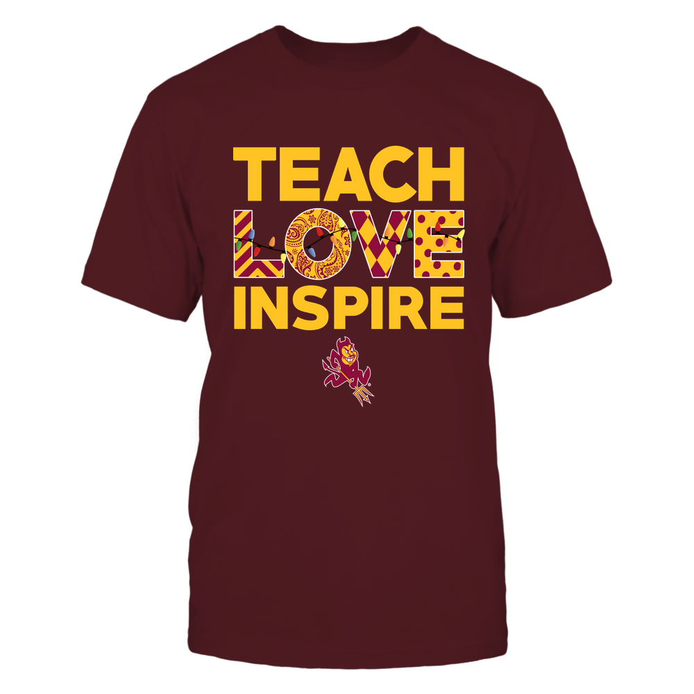 Arizona State Sun Devils - Xmas - Teacher - Teach Love Inspire - Slogan Pattern - Color Light - IF78-IC78-DS37 Front picture