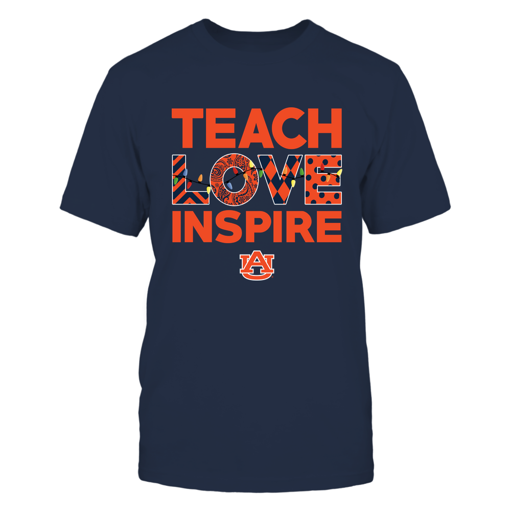 Auburn Tigers - Xmas - Teacher - Teach Love Inspire - Slogan Pattern - Color Light - IF78-IC78-DS37 Front picture