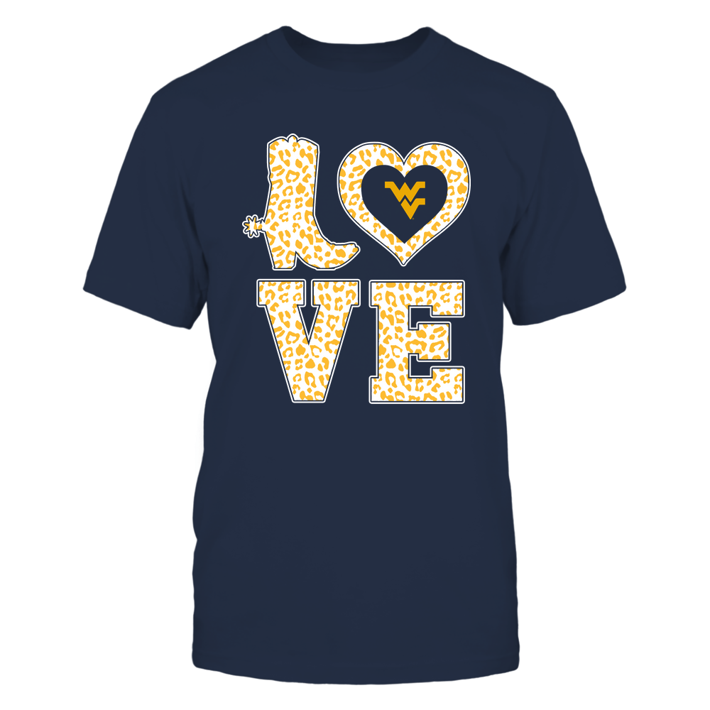 West Virginia Mountaineers - Stacked Love Boot - Leopard Heart - Team Front picture