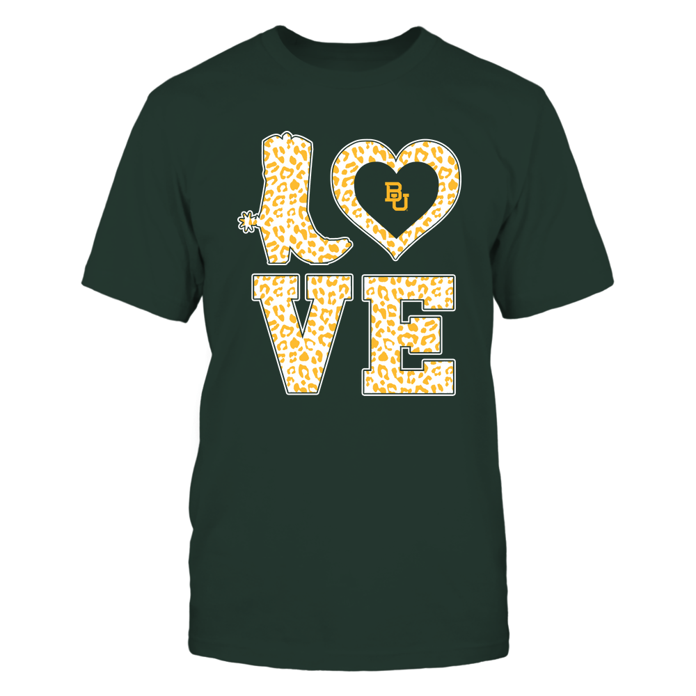 Baylor Bears - Stacked Love Boot - Leopard Heart - Team Front picture
