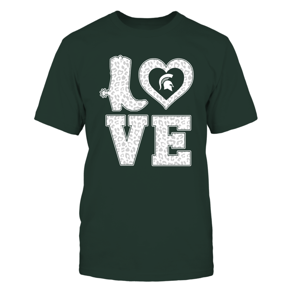 Michigan State Spartans - Stacked Love Boot - Leopard Heart - Team Front picture