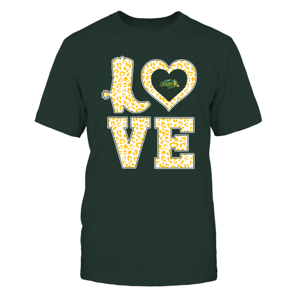 North Dakota State Bison - Stacked Love Boot - Leopard Heart - Team Front picture