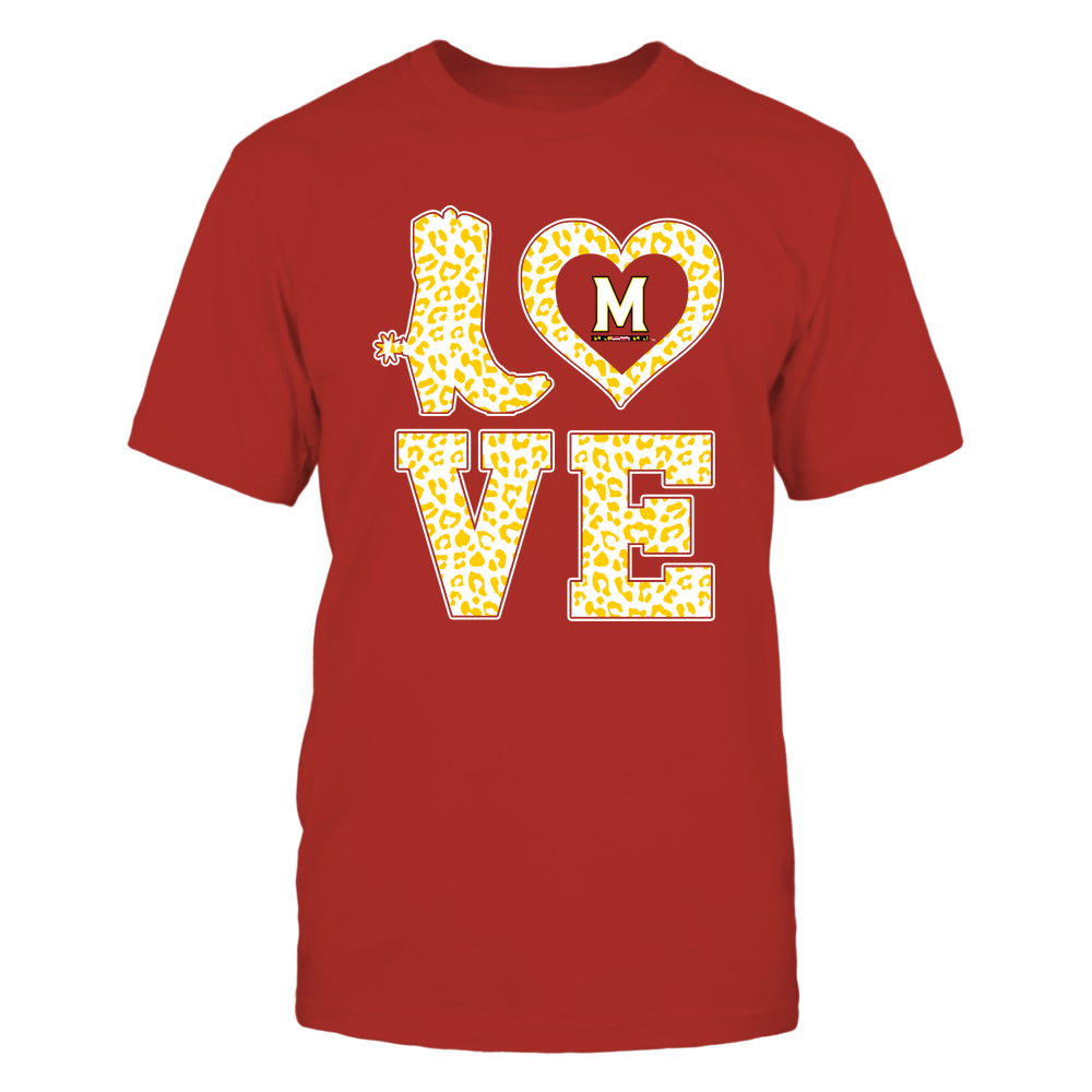 Maryland Terrapins - Stacked Love Boot - Leopard Heart - Team Front picture