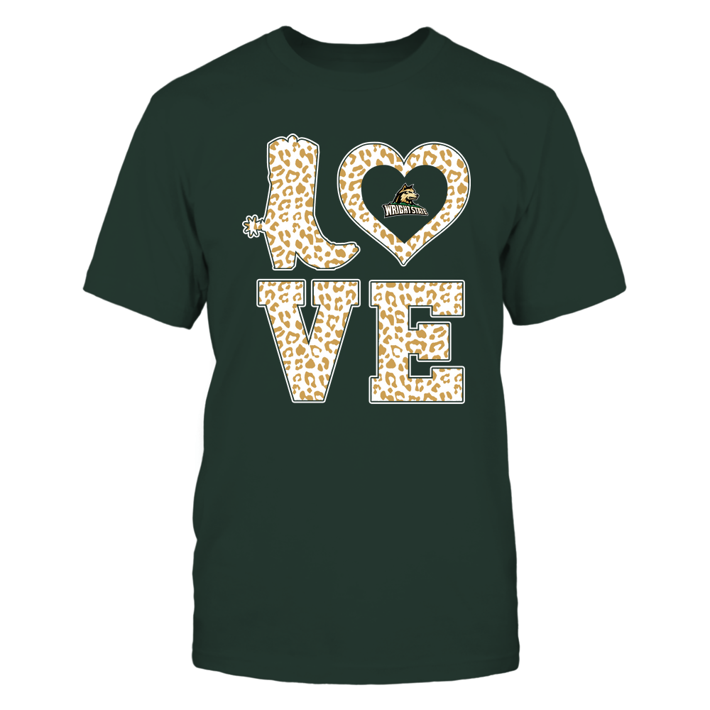 Wright State Raiders - Stacked Love Boot - Leopard Heart - Team Front picture