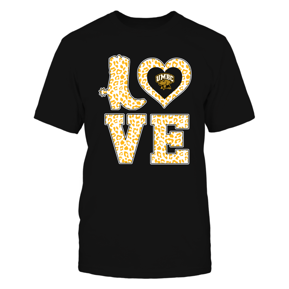 UMBC Retrievers - Stacked Love Boot - Leopard Heart - Team Front picture