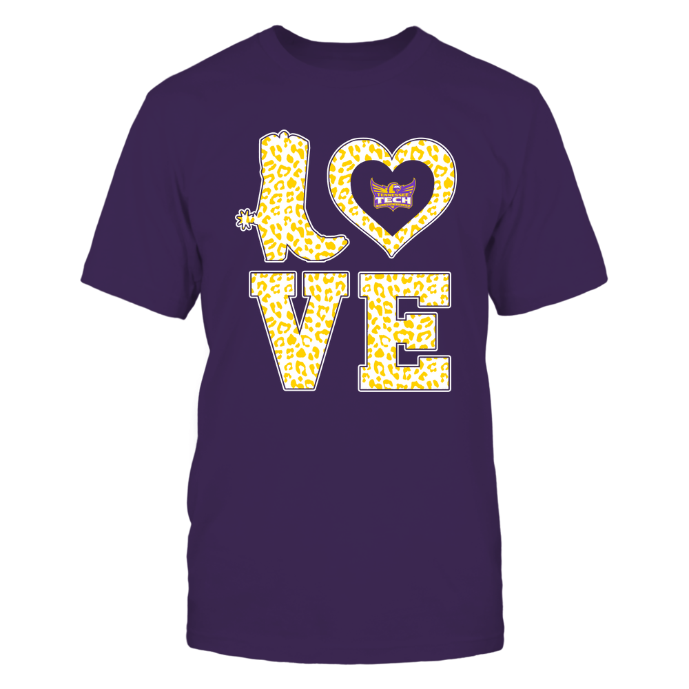 Tennessee Tech Golden Eagles - Stacked Love Boot - Leopard Heart - Team Front picture