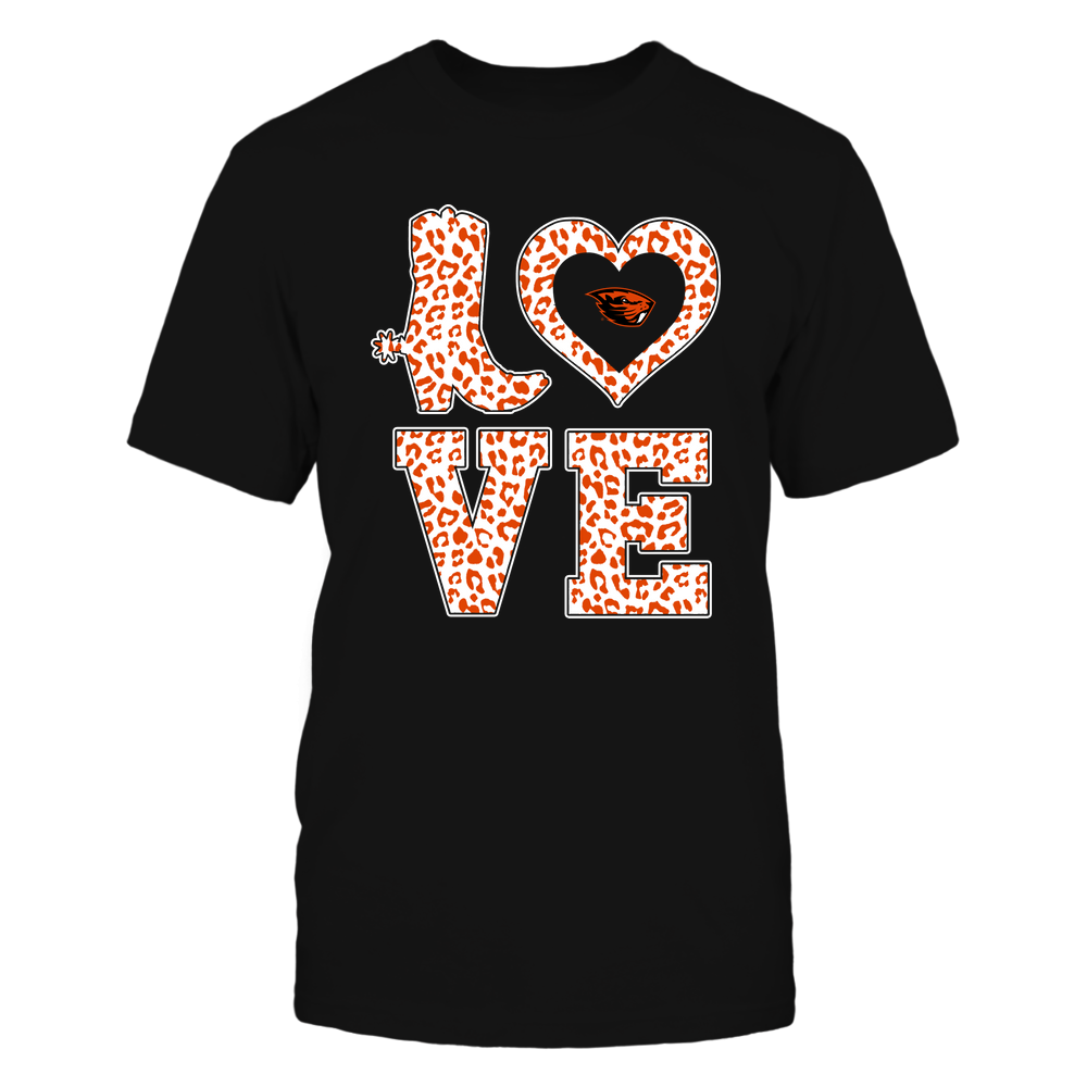 Oregon State Beavers - Stacked Love Boot - Leopard Heart - Team Front picture
