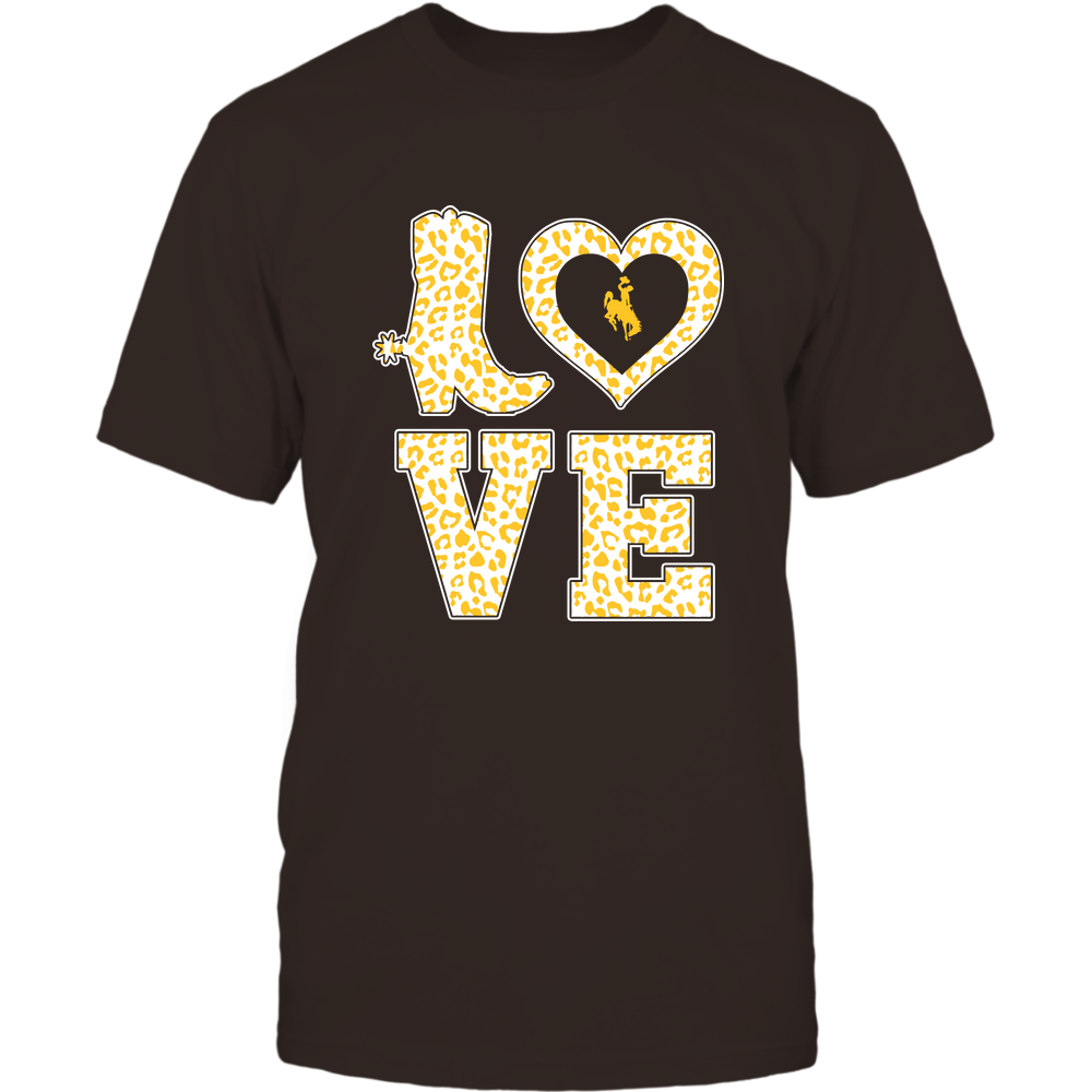 Wyoming Cowboys - Stacked Love Boot - Leopard Heart - Team Front picture