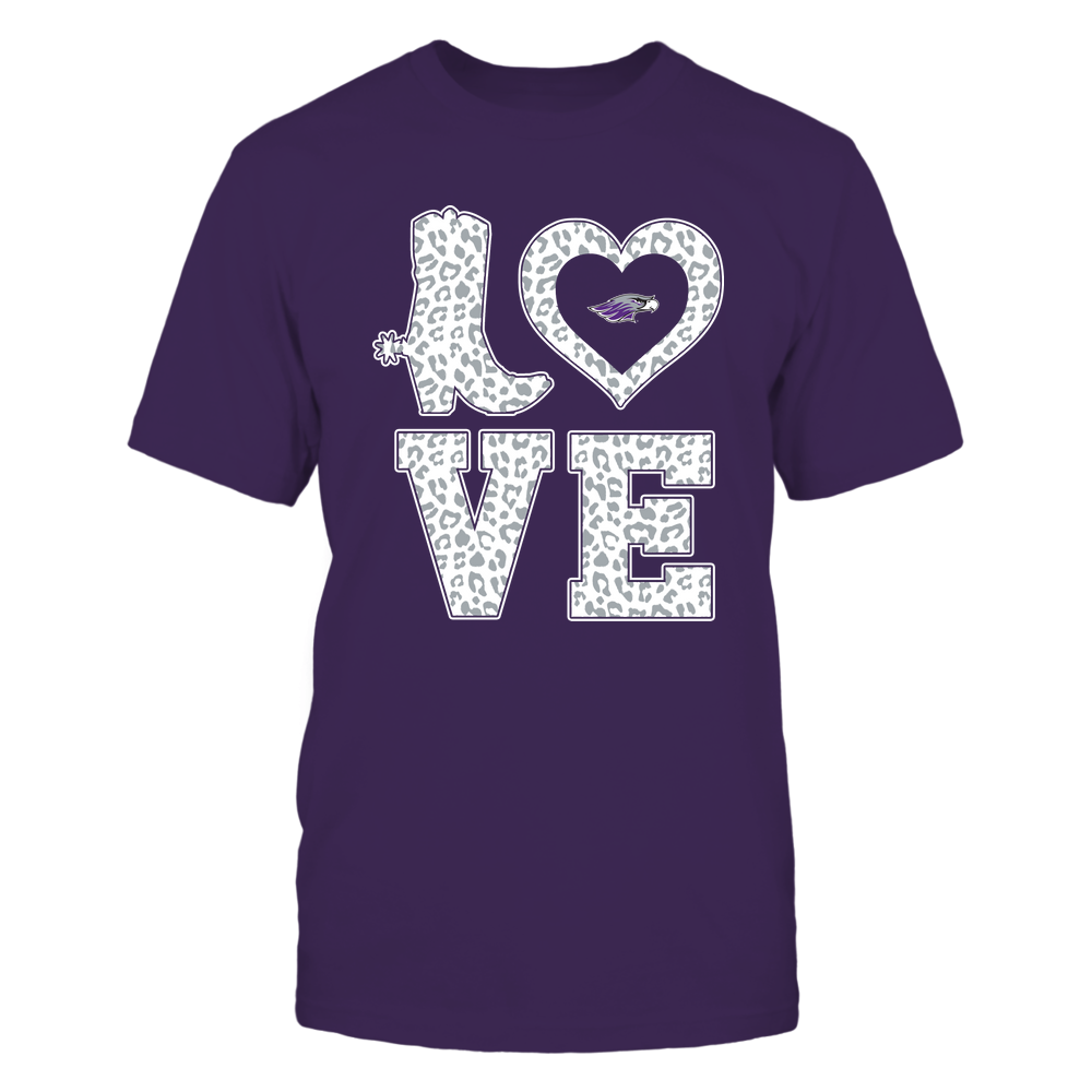 Wisconsin-Whitewater Warhawks - Stacked Love Boot - Leopard Heart - Team Front picture