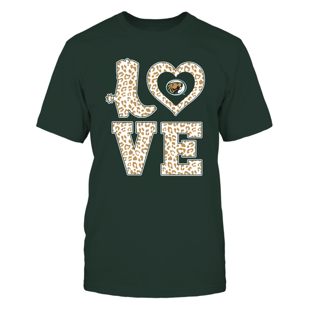 Bemidji State Beavers - Stacked Love Boot - Leopard Heart - Team Front picture