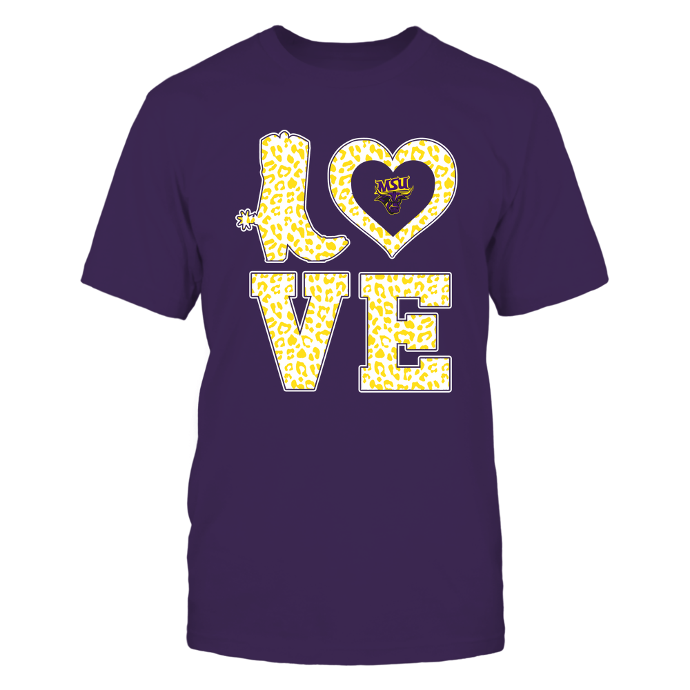 Minnesota State Mavericks - Stacked Love Boot - Leopard Heart - Team Front picture