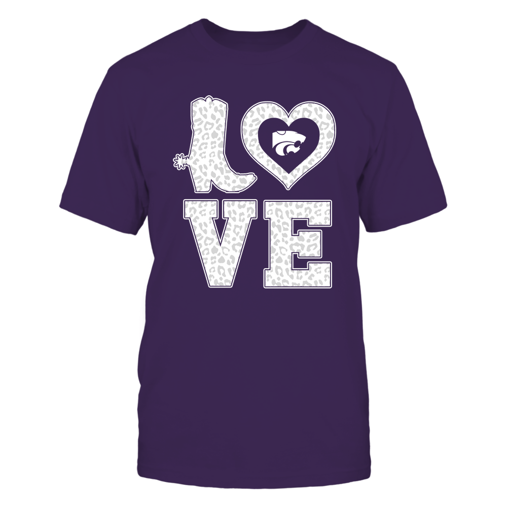 Kansas State Wildcats - Stacked Love Boot - Leopard Heart - Team Front picture
