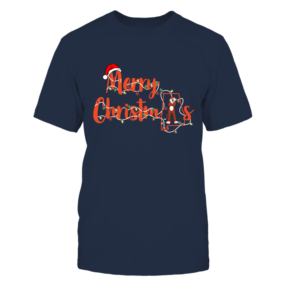 Auburn Tigers - Xmas - Merry Christmas State Outline Mascot - IF82-IC82-DS85 Front picture