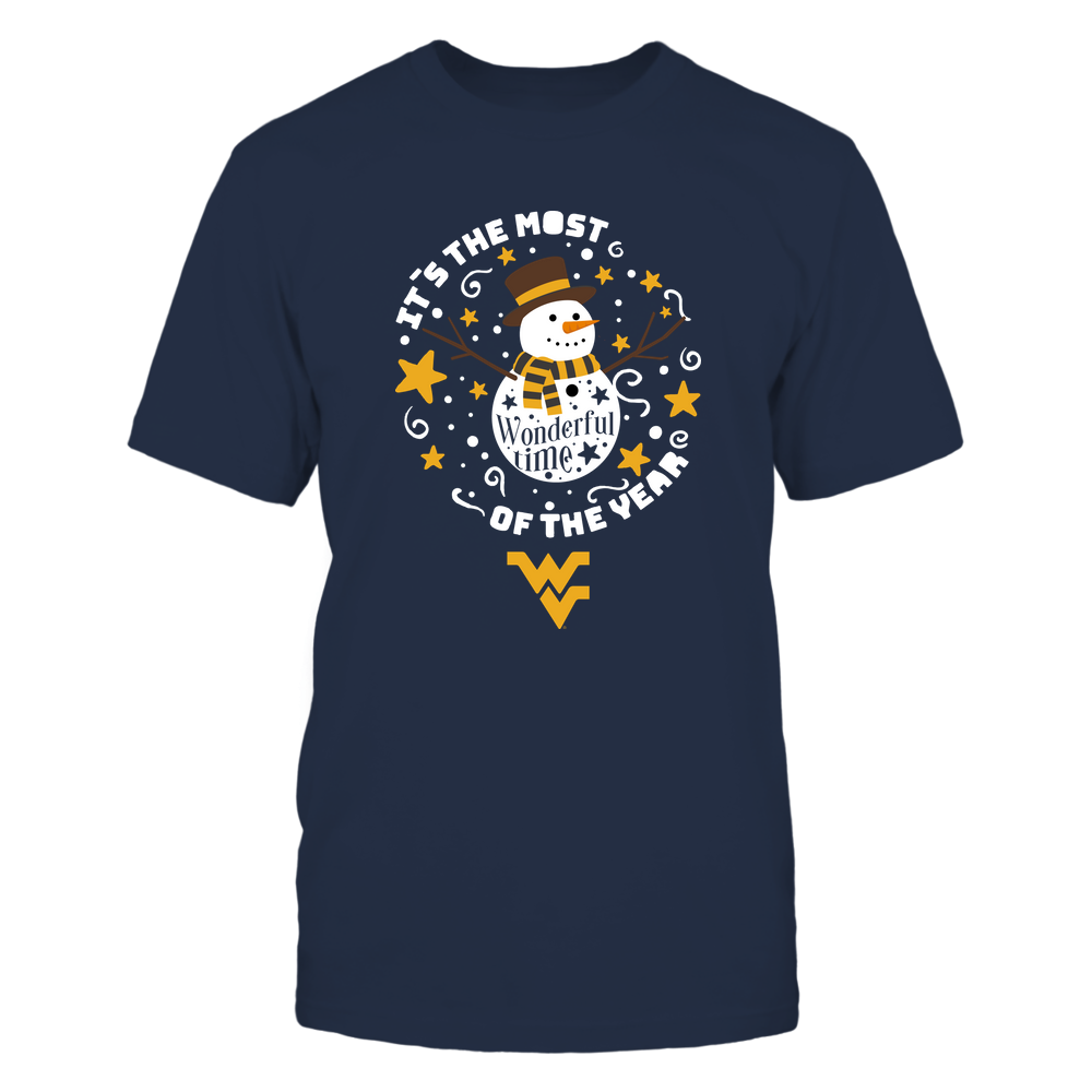 West Virginia Mountaineers - Xmas - The Most Wonderful Time - Snowman - Silhouette  - IF32-IC32-DS63 Front picture