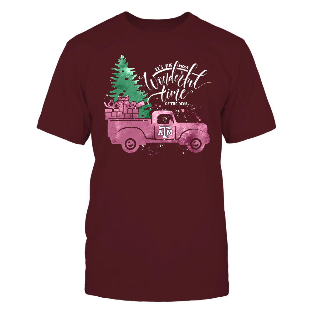 Texas A&M Aggies - Xmas - The Most Wonderful Time - Truck - Watercolor - IF32-IC32-DS37 Front picture