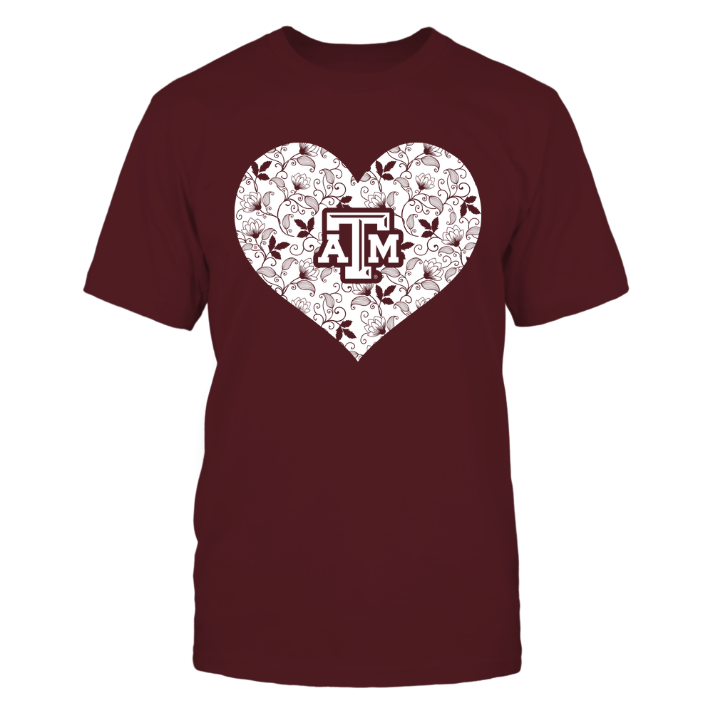 Texas A&M Aggies -  Heart Flower Seamless Pattern ,Heart Flower Seamless Pattern , Front picture