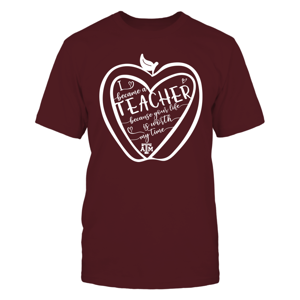 Texas A&M Aggies - Teacher - Heart In Apple - I Became - IF32-IC32-DS64 Front picture