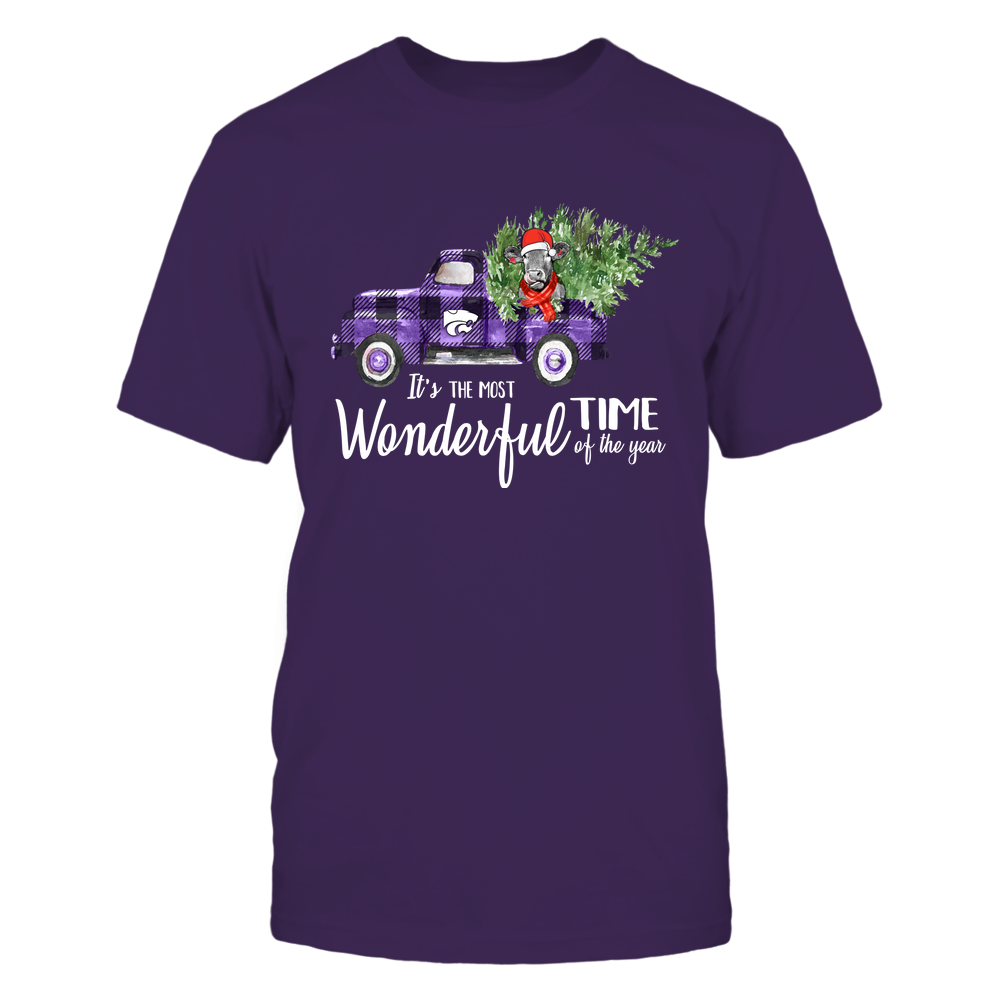 Kansas State Wildcats - Xmas - Most Wonderful Time - Cow - Checkered Truck  - IF82-IC82-DS45 Front picture