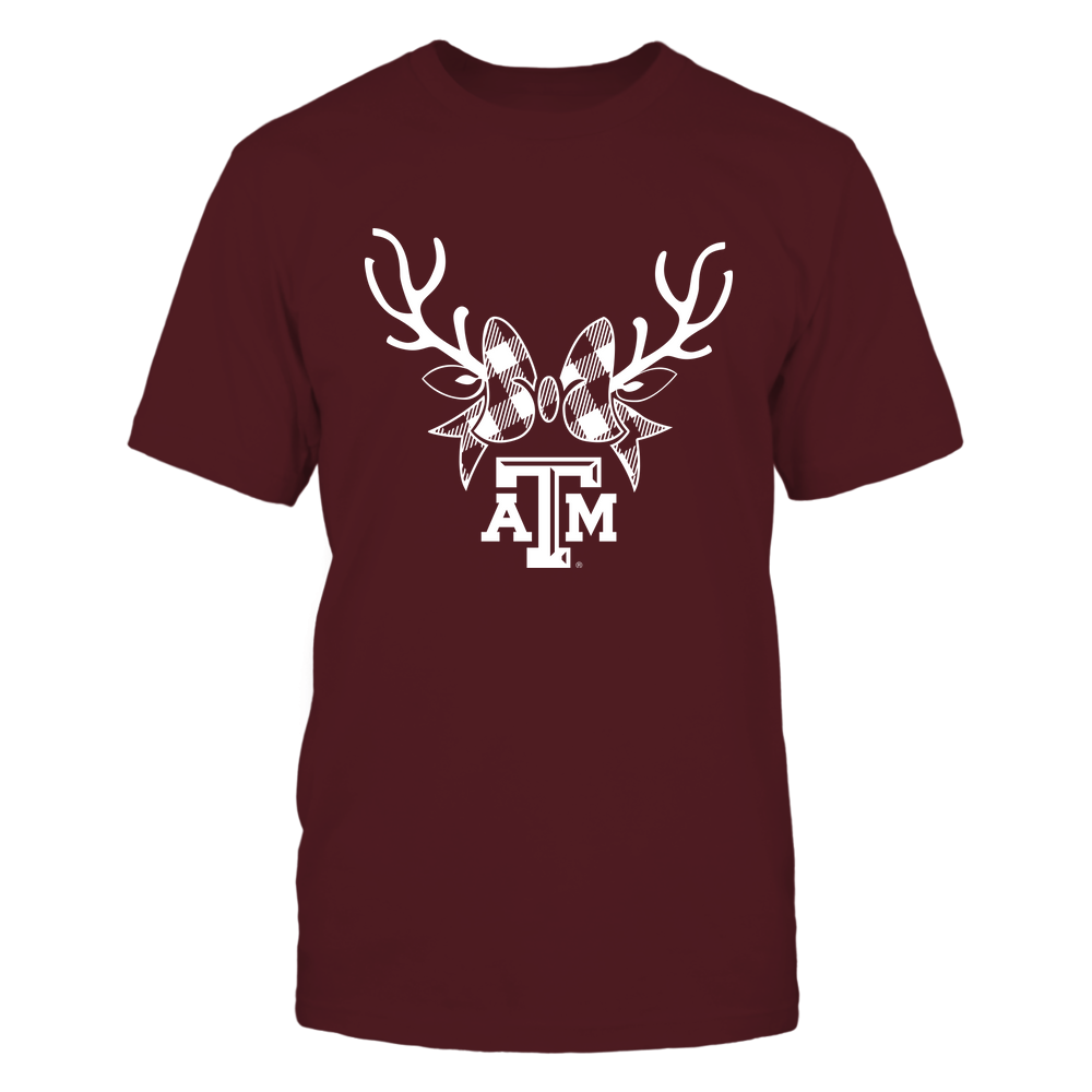 Texas A&M Aggies - Xmas - Buffalo Plaid Reindeer - IF32-IC32-DS45 Front picture