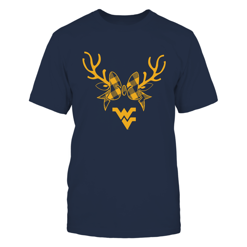 West Virginia Mountaineers - Xmas - Buffalo Plaid Reindeer - IF32-IC32-DS45 Front picture