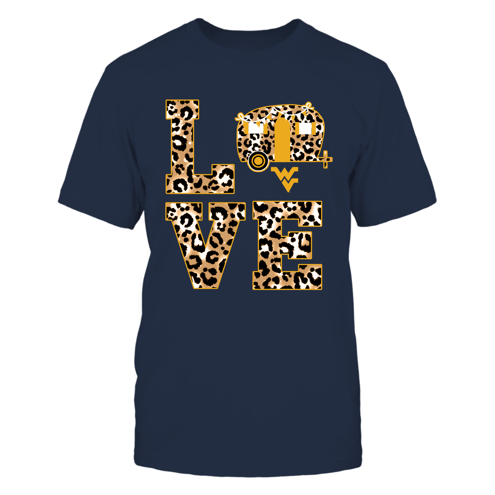 West Virginia Mountaineers - Camping - Stacked Love- Leopard Camping Truck  - IF82-IC82-DS85 Front picture