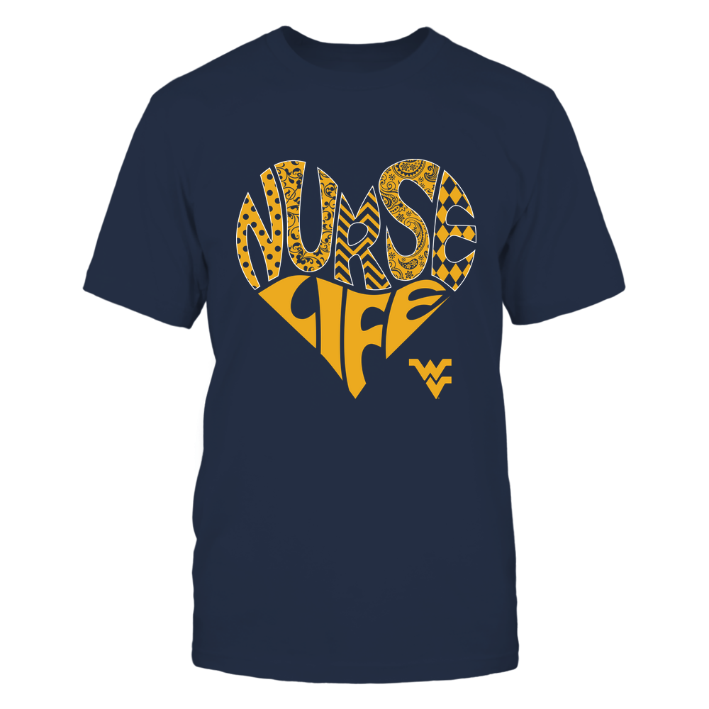 West Virginia Mountaineers - Nurse - Nurse Life - Pattern - Heart  - IF82-IC82-DS45 Front picture