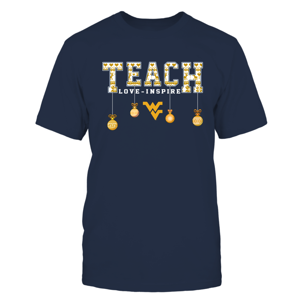 West Virginia Mountaineers - Xmas - Teacher - Teach Love Inspire - Hanging - IF32-IC32-DS85 Front picture