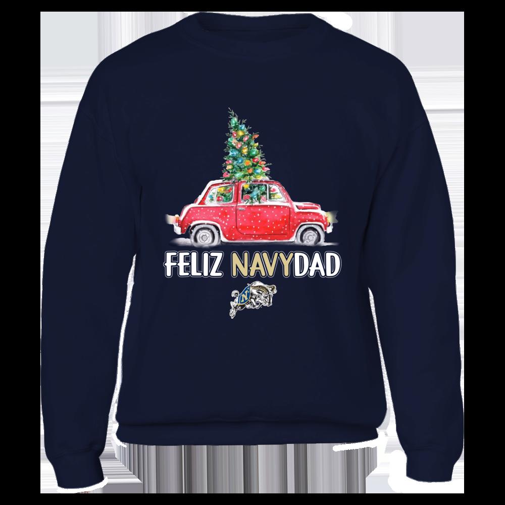 Navy Midshipmen - Feliz Navidad Christmas Truck - Team Slogan  - IF-IC32-DS85 Front picture