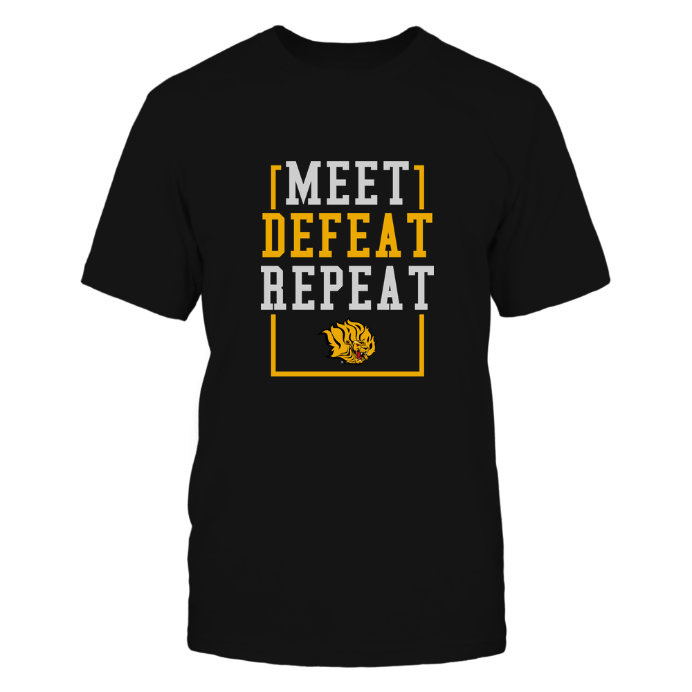Arkansas Pine Bluff Golden Lions - MEET DEFEAT REPEAT Front picture