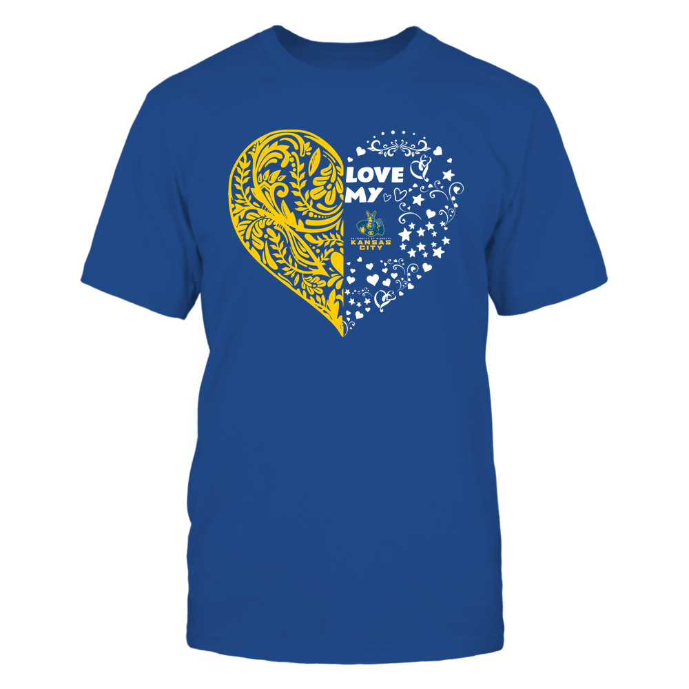 UMKC Kangaroos - Love My Team - Half Floral Pattern Front picture