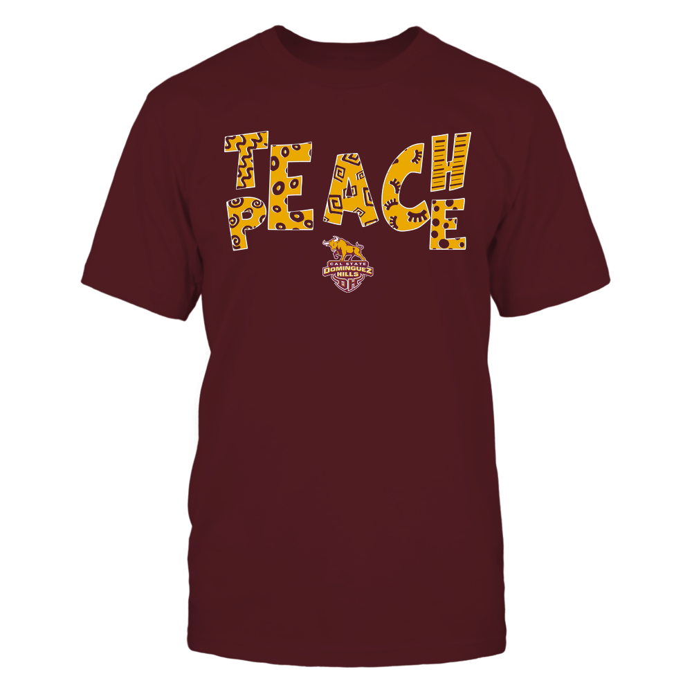 Cal State Dominguez Hills Toros - Teach Peace - Doodle Pattern Front picture