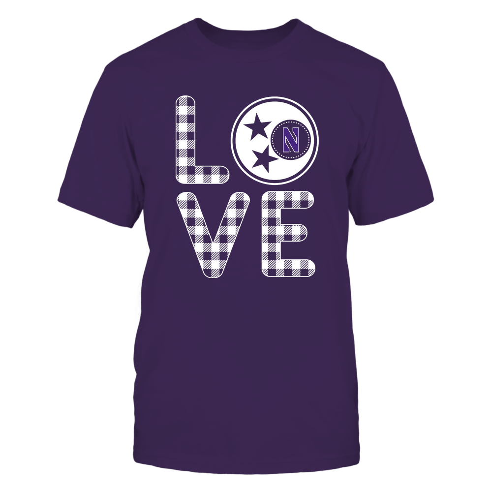 Northwestern Wildcats - Stacked Love - Tristar - Checkered Pattern Front picture