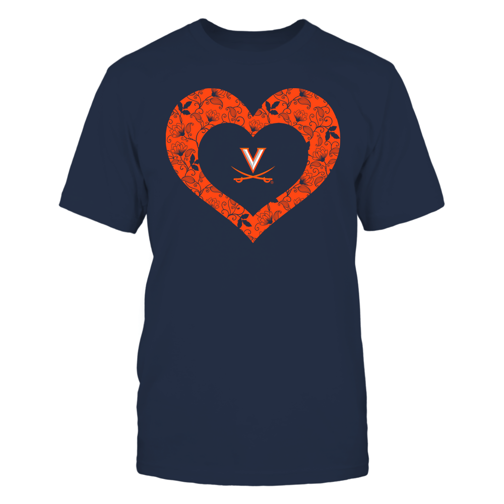 Virginia Cavaliers - Heart Flower - Seamless Pattern Front picture