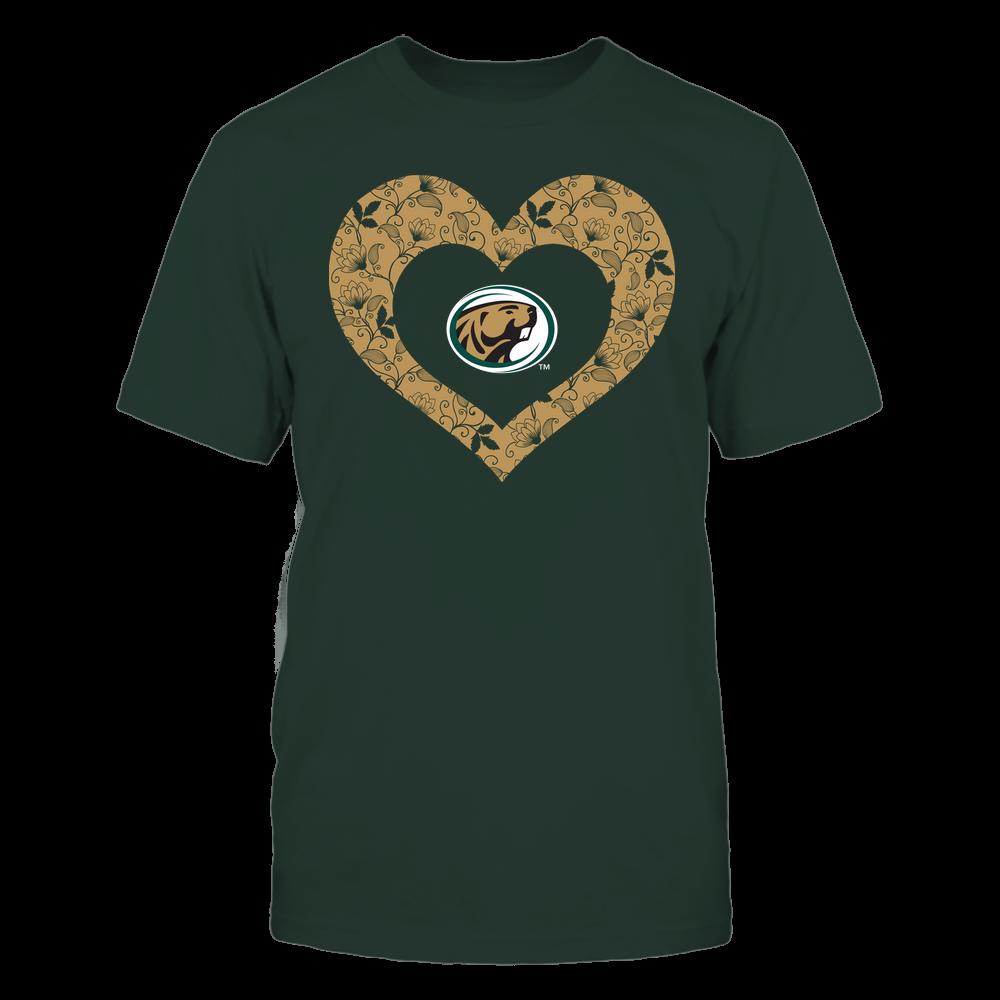 Bemidji State Beavers - Heart Flower - Seamless Pattern Front picture