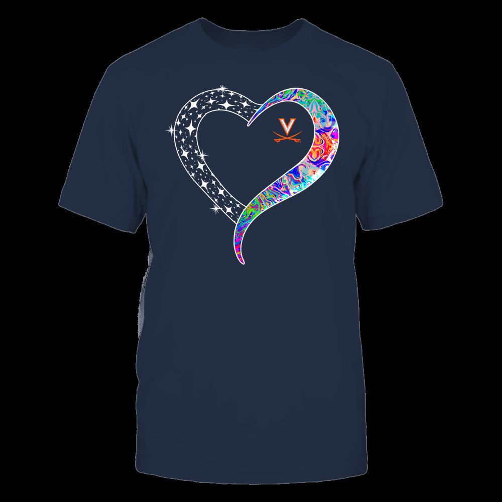 Virginia Cavaliers - Half Heart - Rainbow Swirl Front picture