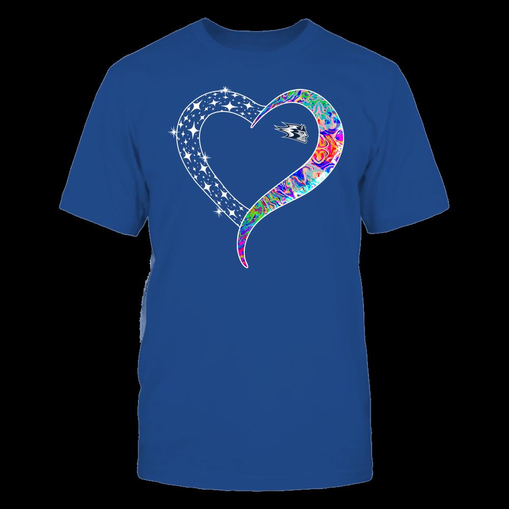 Wisconsin Stout Blue Devils - Half Heart - Rainbow Swirl Front picture