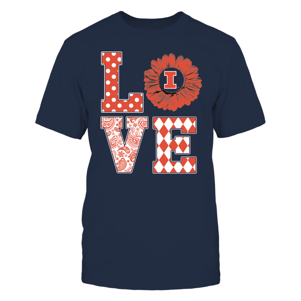 Illinois Fighting Illini - Stacked Love Pattern - Daisy Front picture