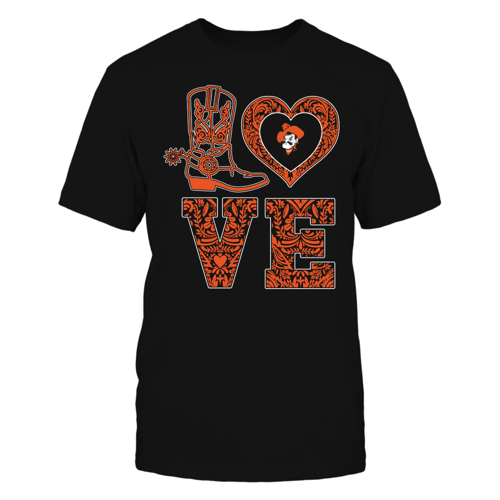 Oklahoma State Cowboys - Stacked Love - Lace Heart Front picture