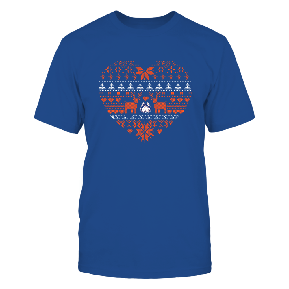 Houston Baptist Huskies - Holiday Season - Ugly Sweater Pattern Heart Front picture