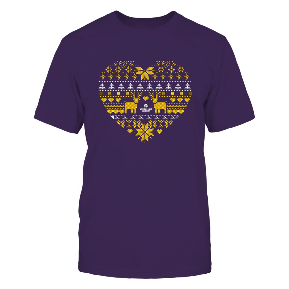 Western Illinois Leathernecks - Holiday Season - Ugly Sweater Pattern Heart Front picture