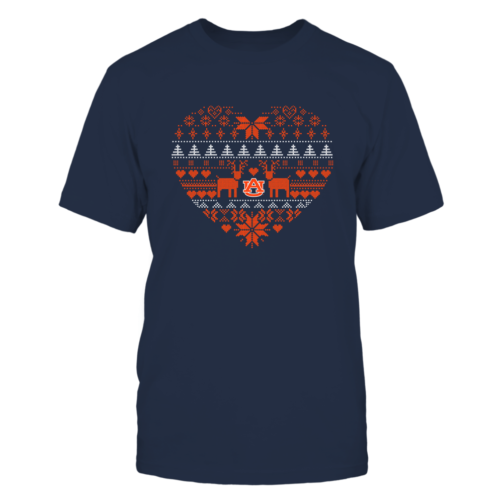 Auburn Tigers - Holiday Season - Ugly Sweater Pattern Heart Front picture